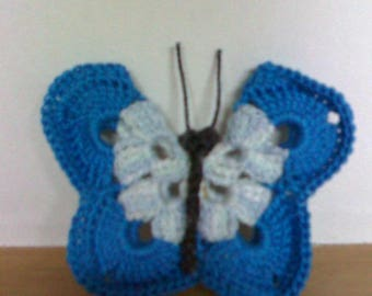 set of 3 butterflies handmade crocheted cotton blue and white