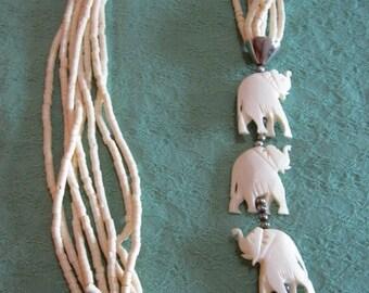 White elephants long necklace