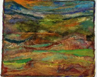 Abstract Landscape Quilted Felted Wool Wall Hanging