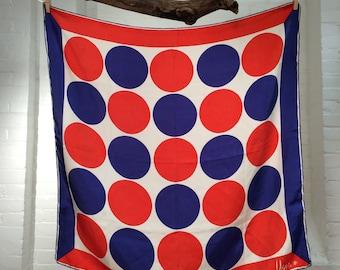 vintage Vera Neumann silk scarf // red white and blue // ladybug signature // 1960s