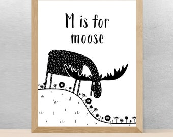 M is for MOOSE Drawing Illustration Black and White Nursery Kids Room Poster, Monochrome Wall Children Art Print, Forest Animals Theme Decor