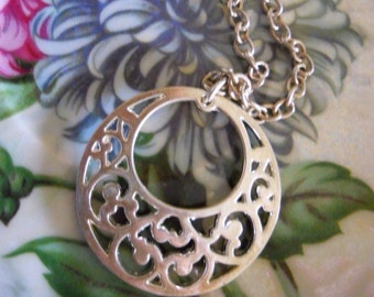 Vintage LBVYR Silver Toned Metal Pendant with Sturdy Decorative Chain