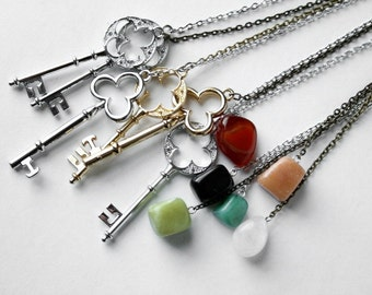 Key and stone pendant necklace - Design Your Own