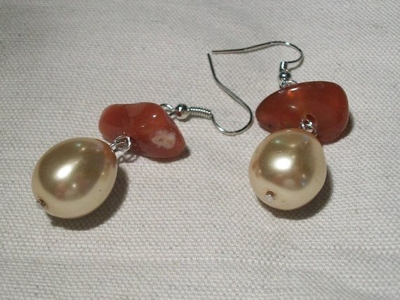 Carnelian and Gold Tone Glass Pearl Beaded Dangle Earrings, Champagne Pearl Earrings, Gift For Her, Ready To Ship Jewelry, Beaded Earrings