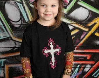 Cross and Angel Wings Tattoo Sleeve Shirt
