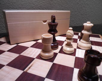 Handmade Chess Board and Complete Boxed Chess Set, Wenge, Oak and Curly Maple, Game, Home Decor, Entertainment