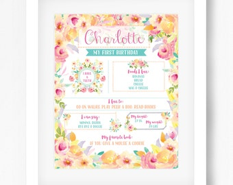Girl First Birthday Poster Girl 1st Birthday poster first birthday sign first birthday board printable poster watercolor floral 16x20 poster
