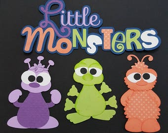 Little monsters die cut title set with 3 monsters for scrapbooking and card making