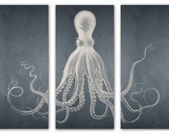 Octopus Art, Octopus Print, Triptych, Beach Art, Coastal Decor, Canvas Wall Art, Large Art, Lord Bodner, Nautical Prints, Coastal Art