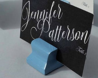 Cute Curves Weighted Place Card Holder - French Blue (Sample Quantities)