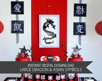 Ninja Dragon Poster and Asian Symbols Printable Wall Art - INSTANT DOWNLOAD - Ninja Party Decorations , Asian Party Decor , Ninja Birthday