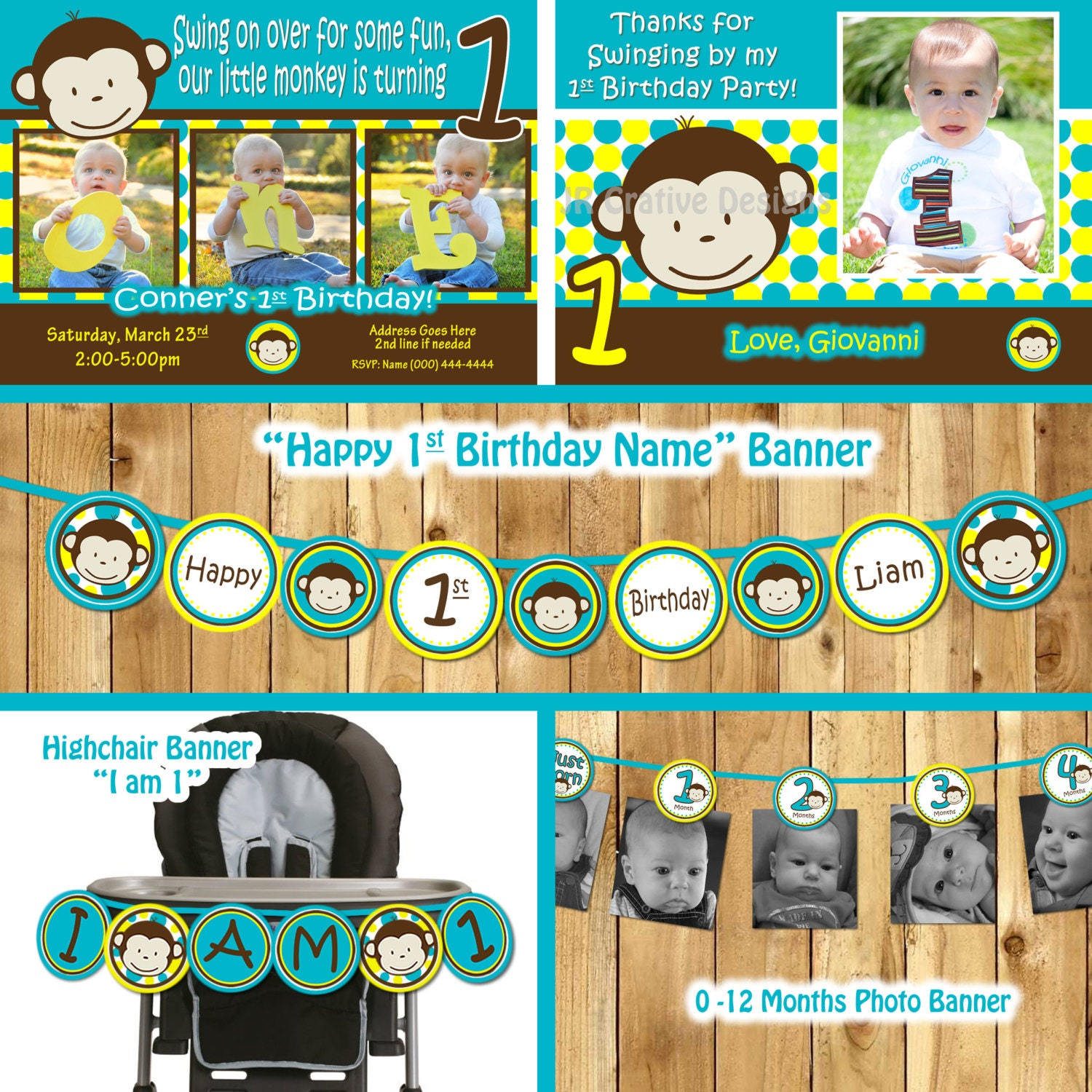 Monkey Birthday Party Package monkey invitation Mod Monkey