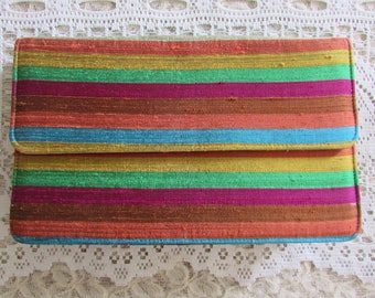 Vintage Silk Clutch/Vintage Silk Purse/Vintage 70's Clutch/Vintage 70's Handbag/Vintage Ladies Who Lunch Bag
