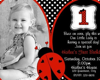 Ladybug Invitation Ladybug Birthday Invitation First Birthday Invitation ONE Digital 4x6 or 5x7