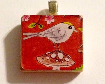 Golden Crowned Kinglet Bird Art Scrabble Tile Pendant