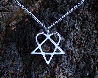 Heartagram etsy heartagram pendant heartagram set on a silver plated chain or a leather thong choose aloadofball Choice Image