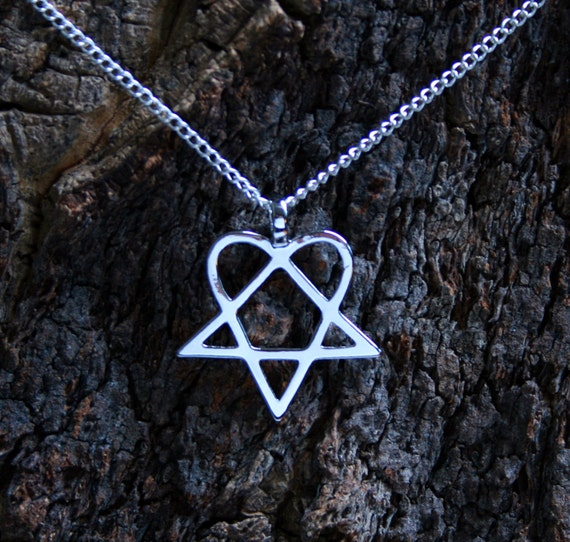 Heartagram pendant heartagram set on a silver plated chain aloadofball Image collections
