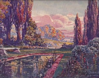 Serenity and Beauty in Parrish Garden Scene Vintage Art Print, 1930's