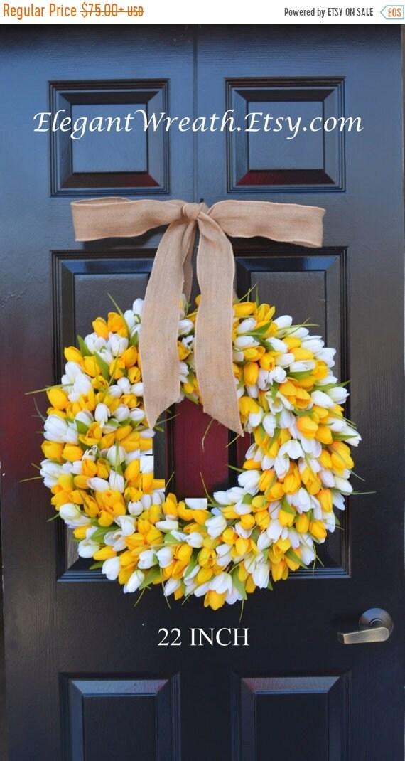 SUMMER WREATH SALE Spring Wreath- Summer Wreath- Mother's Day Gift- Summer Decor- Burlap Ribbon, Custom Colors The Original Tulip Wreath