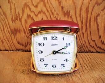Vintage travel alarm clock, linden alarm clock, red alarm clock