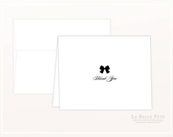 Little Black Bow THANK YOU script font folded stationery note cards with DIY printble option