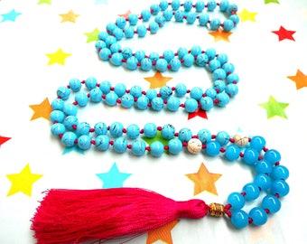 Turquoise mala necklace, 108 mala beads, Turquoise necklace, yoga mala necklace, yoga necklace, meditation beaded necklace, long necklace.