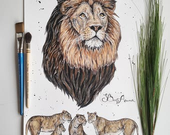 Watercolor lion, lion painting, lion art, family art, African art, safari, African wildlife, lion print, leo, lion head, big cat, lion king