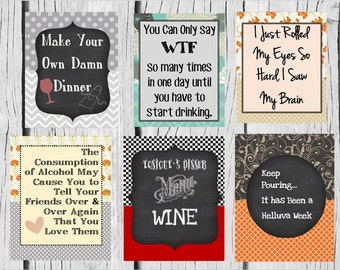Funny Saying Wine Labels