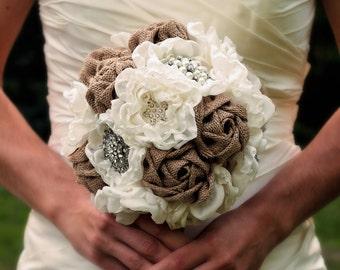 Burlap Wedding Bouquet   Rustic Wedding   Rustic Wedding Bouquet   Rustic Fabric Bouquet   Country Wedding Flowers   Rustic Wedding Decor