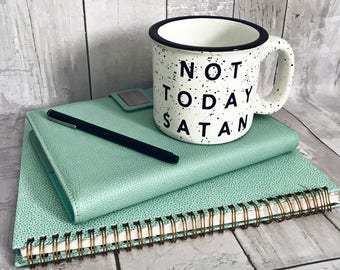 Not Today Satan / Stoneware Mug / Coffee Mug / Mug / Cute Mug / Campfire Mug / Speckled Mug / Cute Coffee Mug