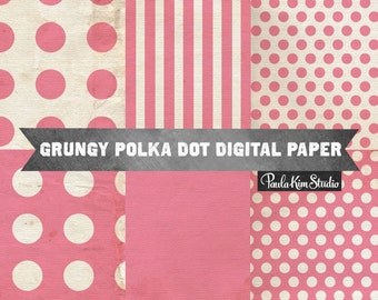 80% OFF SALE Pink Polka Dot Digital Paper, Polkadot Background, Digital Scrapbook Papers, Grungy Textures