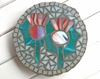 Mosaic Stepping Stone ~ Thistle Garden Art  ~ Thistle Design ~ Decorative Paving Slab ~ Garden Decoration ~ Recycled Eco Art ~ Scottish Art