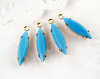 Vintage Opaque Turquoise 15x4mm Navette Set Glass Stone Drops Rhinestone Earring Dangles Brass or Antique Silver Settings – 6