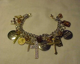 Christian Charm Bracelet, Vintage Medals & Crosses, Glass Beads, Jesus, Mother Mary, Commandment Charms Numbers 6, 7, 8, Found Objects, OOAK