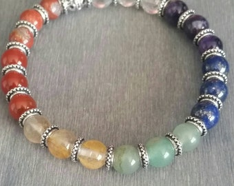 Rainbow Chakra Gemstone Bracelet, Silver Plated