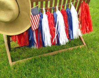 4th of July Garland Tassel Garland Red White and Blue and optional Gold Tassels or Silver tassels 4th of July Decorations July 4 decor
