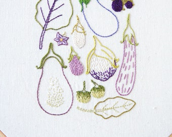 PDF Embroidery Pattern - Eggplant Botanical Embroidery Sampler Pattern Collection