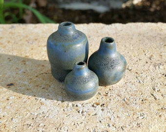 Set of Blue Tiny Vases