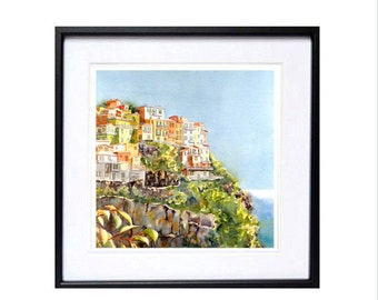 Travel Art, Italian, Archival Print, Landscape Painting, Romantic paintings, Ocean view, Beach town, Cinque Terre, Italy Christmas Time Sale