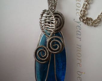 Blue glass wire wrapped pendant