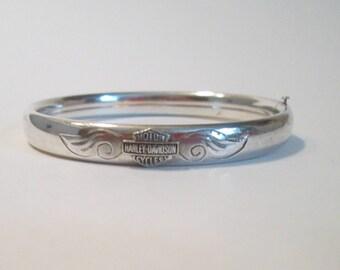 Sterling Silver Harley-Davidson Bangle Bracelet