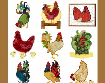 Country Chicken Applique Collection- Machine Embroidery Designs