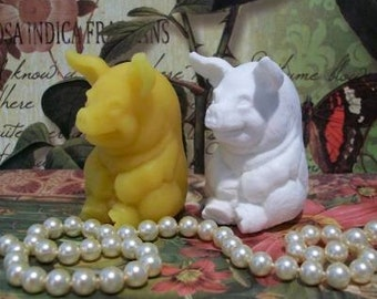 2 Beeswax Happy Little Pig Candles Choice Of Color