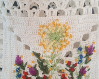 Hand knitted Embroidered Backpack Summer Crocheting Cotton Lace Flowers Eco frendly Modern Trendy  Bohemian Boho Ready to ship Free shipping