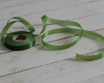 Professional silk tape green for making silk flowers 12 mm