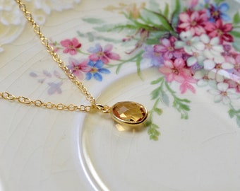 Dainty citrine necklace - Gold vermeil chain - November birthstone gift