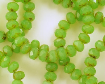 6x8mm Green Opaline Picasso Rondelle Czech Glass Beads - 25