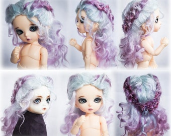 Curly with braids angora mohair bjd wig