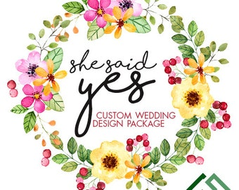 Custom Wedding Printables Package / Wedding Invitations / Save the Dates / Wedding Design Package / Custom Wedding Designs / Custom RSVP