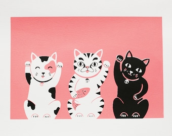A4 Lucky Cats / Maneki Neko Screen Print